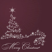 By Christmas tree on claret background — Stock Vector