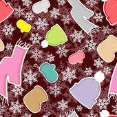 Textura con ropa de invierno — Vector de stock