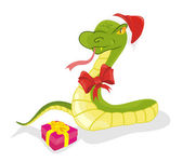 Snake with gift — Stock Vector