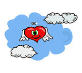 Heart in clouds — Stock Vector