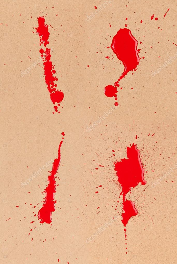 Composite of four red blood stains and spatter on brown cardboard. — Stock Photo #15614447