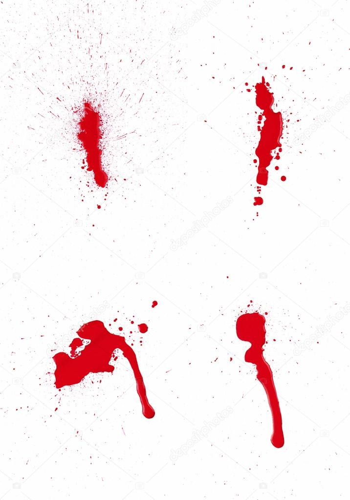 A composite of 4 wet red paint (blood) stains isolated on white. — Stock Photo #15614539