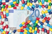 Euros and Pills — Stock Photo