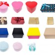 Assortment of Fifteen Different Gift Boxes — Stock Photo