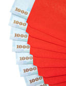 Chinese New Year Red Envelopes with Taiwanese Currency — Stock Photo