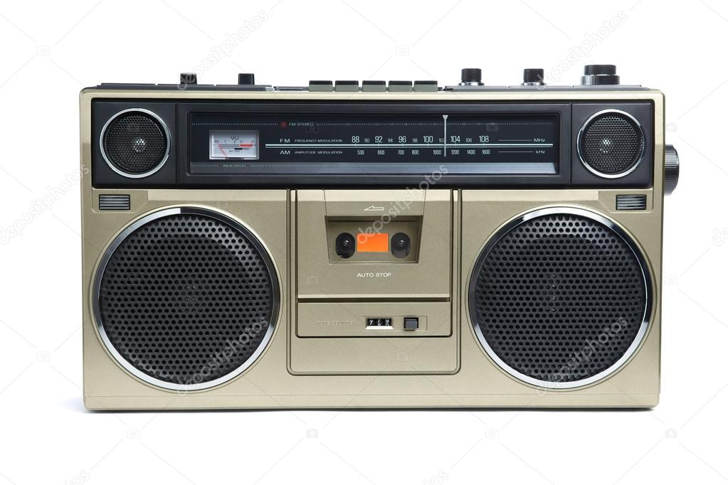 A stylish bronze boombox radio from the 1970's isolated on white. — Stock Photo #18676107