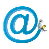 3D small person with a laptop sitting on my email. 3d image. On — Stock Photo