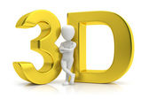 3D gold and human. 3d image. On a white background — Stock Photo