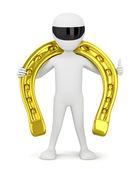 Golden Horseshoe for luck. — Stock Photo