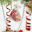 Christmas tree ornaments and gift — Stock Photo