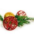 Christmas Balls and branch on white background — Stock Photo