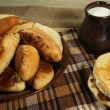 Stock Photo: Pie (Pierogi, pirogi) and pancake, russian tradition food