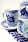 Chá-coisas, gzhel artesanato de pintura. — Fotografia Stock