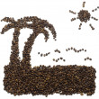 Royalty-Free Stock Photo: Ocean beach silhouette fulfilled with coffee beans