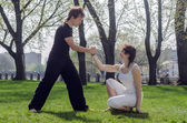 Couple outdoor on fitness training — Stok fotoğraf
