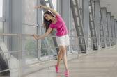 Ballet girl in overground passage — Stock Photo