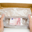 Custom Box with ten euro note — Stock Photo