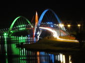 Kubitschek Bridge at night with colored lighting — Stock Photo