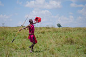 Spear throwing Maasai Man — Stock Photo
