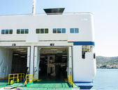 Hangar on a ferry for cars — Stock Photo