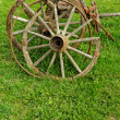 Stock Photo: Old wooden wheel spokes,