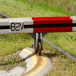 Stock Photo: Barrier to railroad tracks