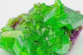 Crystal macro photo in emerald color — Stock Photo