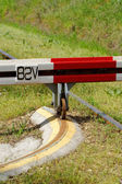 Barrier to the railroad tracks — Stock Photo