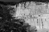 Thassos white marble quarry in bw — Stock Photo