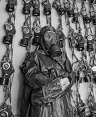 Old military gas on a chemical protective suit woman bw — Stock Photo