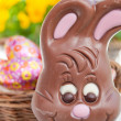 Easter bunny basket of eggs — Stock Photo