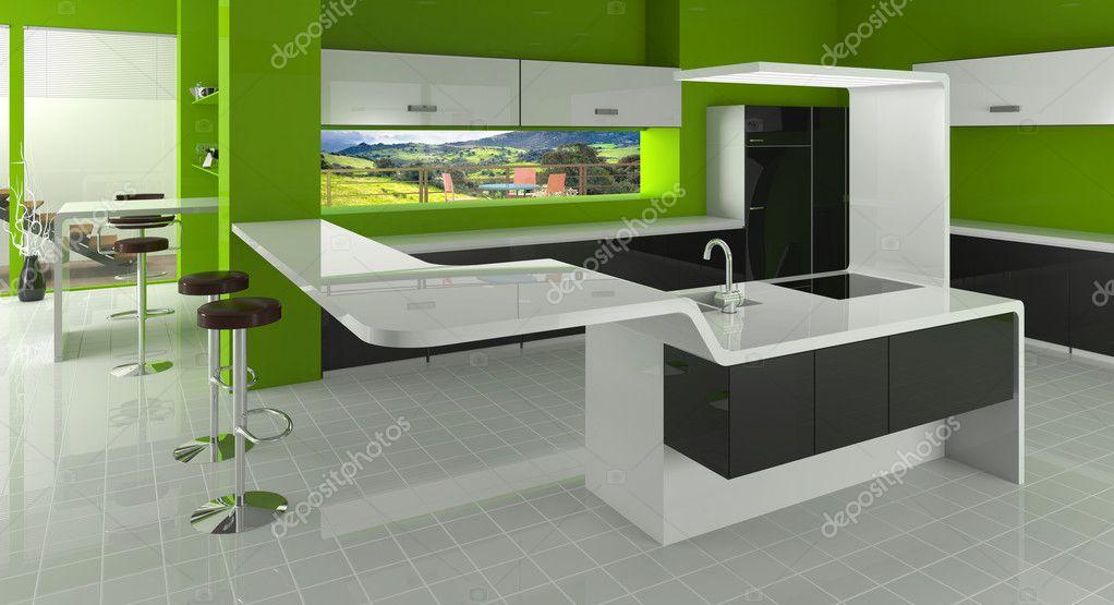 Moderne keuken in groene, zwarte en witte kleuren — Stockfoto ...