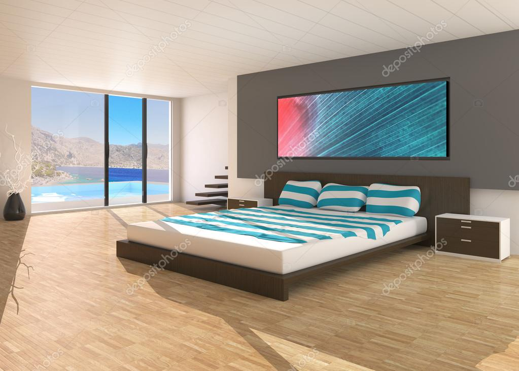 3D render of a modern bedroom — Stock Photo #14665959