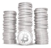 Stack of silver bitcoins — Stock Photo