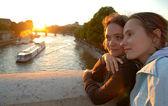 Women on a bridge — Stock Photo