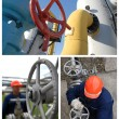 Image set: gas station equipment and worker - Stock Photo