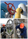 Image set: gas station equipment and worker — Stock Photo