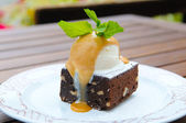Brownies with ice cream and mint — Stock Photo