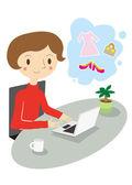 Donne che hanno un funzionamento del personal computer — Vettoriale Stock