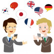 Stock Vector: Businessmtalking on translation app