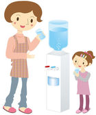 Water server and parent-child — Stock Vector