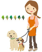 Female pet sitter — Stock Vector