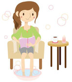 Woman relaxing in the footbath — Stock Vector