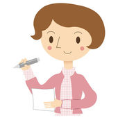 Illustration of a woman to fill the paper — Stock Vector