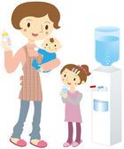 Parent and child water server — Stock Vector