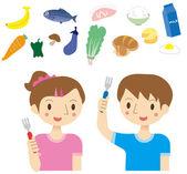 Eating habits of children — Stock Vector