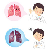 I hear the diagnosis result of lung from doctor — Stock Vector