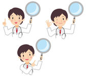 Male doctor to have a loupe — Stock Vector