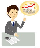 Businessman, Consultation of investment — Stock Vector