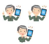 Senior businessman described in tablet devices — Stock Vector